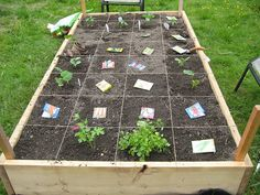 square foot gardening...Reminds me of that website you recommended @Erin S - I definitely have to try this.  It looks much easier with markers instead of my current method of measuring with my shoe...
