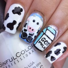 Shianna these cows are for you Farm Animal Nails, Animal Nail Art, Pretty Nail Art, Cool Nail Art, Cow Nails, Cute Cows, Nail Polish, Nail Nail, Cow Print