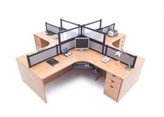 quad desk with dividers