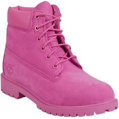 Timberland Women's 6' Girls Premium Lace Up Boot (6,270 PHP) ❤ liked on Polyvore featuring shoes, boots, pink, lacing boots, pink boots, rubber sole shoes, lug-sole boots and timberland shoes