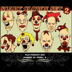 Clowns Vector Set 2  #GraphicRiver         Clowns Vector Set 2 is delivered in vector .EPS and .CDR formats. The eps file can be quickly manipulated in most any vector draw software package (CorelDraw, Adobe Illustrator, Inkscape and many more). The file contains large and clean hand drawn vector elements with high details. It can be opened in any paint program and modified to your liking! Perfect for t-shirts! They are fun, they are children's most popular birthday entertainment, they are…