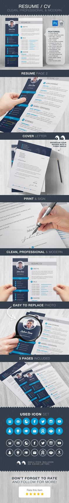 Resume / CV Clean, Professional & ModernFeatures: 3 Page Resume Cover Letter Included Very Well Labeled and Organized Easy to Edit Teacher Resume Template, Best Resume Template, Resume Design Template, Cv Template, Cv Design, Web Design Tips, Graphic Design, Job Interview Tips, Job Interviews