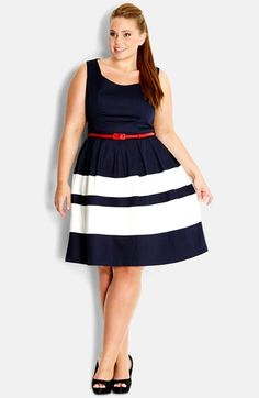 City Chic 'Landlover' Belted Fit & Flare Dress (Plus Size)