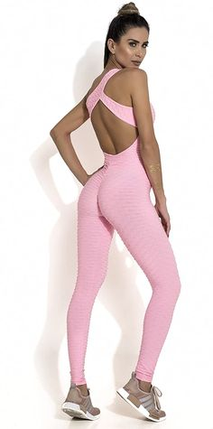 Canoan Fitness Jumpsuit Honeycomb Scrunch Booty One Piece Pink *** Continuously the item at the image web link. (This is an affiliate link). Workout Bodysuit, Workout Jumpsuit, Brazilian Workout, Lounge Club, Fitted Jumpsuit, Younger Skin, Beautiful Figure, Rompers Women, 1 Piece