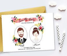Custom Illustrated Save the Date, Personalized Portraits Digital File, Wedding Invitation Portrait, Rustic Simple Sweet Floral Boho Wedding