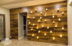 3 Tone Knotty Alder Wood Wall Covering with Live Edge Shelves | Porter Barn Wood