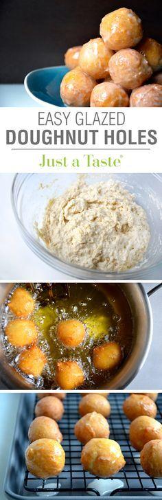 Easy Homemade Glazed Doughnut Holes #recipe from justataste.com
