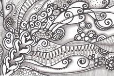 #zentangle with a wavy feel in it, made by Francine Derks