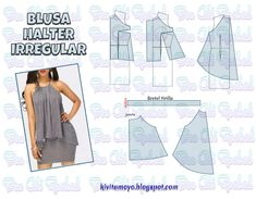 BLUSA HALTER IRREGULAR Free Printable Sewing Patterns, Easy Sewing Patterns, Blouse Patterns, Clothing Patterns, Sewing Clothes Women, Modelista, Make Your Own Clothes, Diy Dress, Simple Dresses