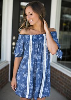 Denim Blue Off The Shoulder Dress | Lane201 Boutique