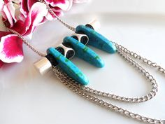 Hey, I found this really awesome Etsy listing at https://www.etsy.com/listing/219144787/long-necklace-turquoise-ceramic-beads