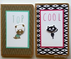 Cute notebooks made with Stampin' Up Kraft Grid Journals and the Hot Diggity Dog and You Little Furball stamp sets