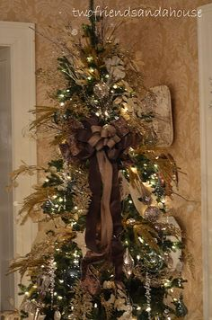 Love this crystal, gold and burlap tree!