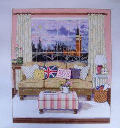 Needlepoint Handpainted Canvas Sandra Gilmore View of London British England 18M | eBay