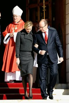 27 JANUARY 2014 - Sainte Devote Celebrations - Day 2 Prince Albert and Princess Charlene attended the Sainte-Devote ceremony in Monaco.