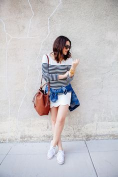 Kendi Everyday: Scallops and Stripes Scalloped Skirt, Lady Grey, Scallops, White Skirts, Warm Weather, Sneakers Fashion, Outfit Of The Day, Spring Fashion, Personal Style