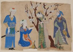 Wine Drinking in a Spring Garden, ca. 1430. Iran, possibly Tabriz. The Metropolitan Museum of Art, New York. Cora Timken Burnett Collection of Persian Miniatures and Other Persian Art Objects, Bequest of Cora Timken Burnett, 1956 (57.51.24) #spring