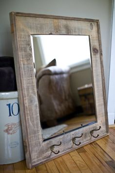 An idea for the mirror I have from my dad's old barber shop! Barn Wood Projects, Reclaimed Wood Projects, Reclaimed Barn Wood, Old Wood, Home Projects, Barnwood Ideas, Barn Wood Mirror, Barn Wood Frames, Pallet Mirror