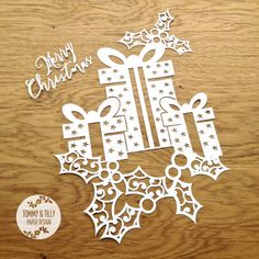 COMMERCIAL USE Christmas Present Design - Papercutting Template to print and cut yourself