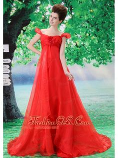 Off Shoulder Neckline Red A-line Organza Custom Made 2013 Prom Gowns With Court Train  http://www.fashionos.com  Catch the light in this red organza prom dress. Lovely bubble sleeves adorns the sweetheart bodice creating an off shoulder look. Slimming ruched chiffon with flowy floor length skirt adds your elegance and charm. Exquisite hand make flowers promote your girly temperament.Stunning in the spotlight or on the dance floor