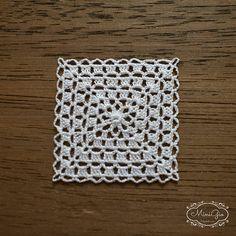 Miniaturas crochet tapete cuadrado 12 pulgadas mantel de