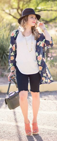 Festival Style :: Floral Kimono from Target, bermuda shorts, coral lace wedges, navy fedora hat