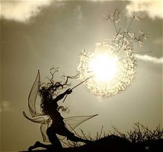 A metal wire fairy in silhouette.