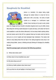 Doughnuts for Breakfast worksheet - Free ESL printable worksheets made by teachers Reading Comprehension Activities, Reading Worksheets, Reading Fluency, Reading Passages, Reading Skills, Teaching Reading, Printable Worksheets, Printables, Teaching English Grammar