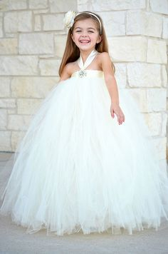 Diamonds and Pearls Ivory Flower Girl Tutu Dress - Flower Girl Dress - Tutu Dress - Flower Girl Gown Girl Wedding Dress