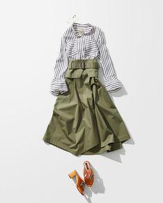 #ストライプシャツ Office Fashion, Work Fashion, Skirt Fashion, Daily Fashion, Spring Fashion, Autumn Fashion, Fashion Outfits, Womens Fashion, Classy Outfits