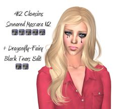 THIS IS FOR SIMS 2! 4t2 @cloesims Smeared Mascara N2. Plus edits of Dragonfly-Fairy's Black Tears. These are found in Makeup -> Blush. Here is a better view of the swatches. DOWNLOAD Credits: @cloesims and Dragonfly-Fairy