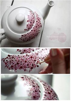 How to make a special dotted teapot for cozy autumn nights. It's actually really easy project. Just some porcelain paint, a tooth pick and some patience… end here we are.
