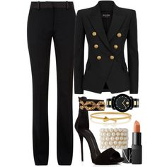 Black & Gold Balmain & Victoria Beckham by carolineas on Polyvore featuring polyvore, fashion, style, Balmain, Victoria Beckham, Giuseppe Zanotti, Movado, Kate Spade and NARS Cosmetics