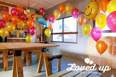 キッズバースデーパーティー 出張装飾 カラフルでポップ トロピカルカラー  バルーンデコレーション専門サービス Loved up balloons