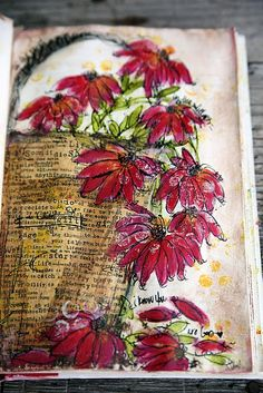 flowers painting art journal