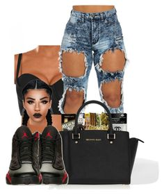 """""""bad"""" by ballislife ❤ liked on Polyvore featuring River Island, MICHAEL Michael Kors and Retrò"""