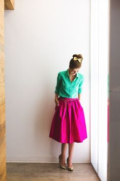 @roressclothes closet ideas #women fashion outfit #clothing style apparel Neon Green Top and Pink Skirt via