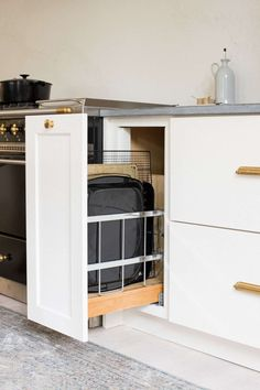 New Kitchen Tour: How One Mom Designed and Organized Her Brand New Kitchen (and How It's Holding Up) - Emily Henderson Kitchen Organisation, Kitchen Storage, Locker Storage, Organized Kitchen, Spice Storage, Organization Ideas, Smart Kitchen, New Kitchen, Kitchen Ideas