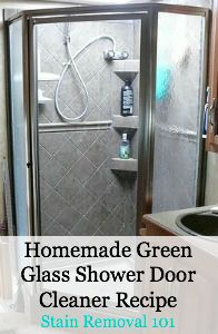 Homemade green glass shower door cleaner recipe, using the power of citric acid {this recipe, plus several other homemade shower cleaner recipes on Stain Removal 101}