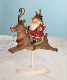 Santa's Reindeer Ride Christmas Folk Art Greg Guedel for Bethany Lowe GG2085 New | eBay