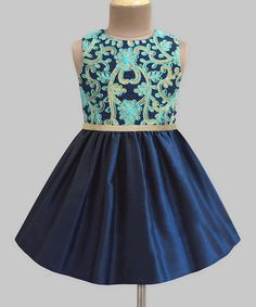 Look at this A.T.U.N. Navy Trellis Embroidered A-Line Dress - Infant, Toddler & Girls on #zulily today!