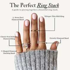 Diamond Stacking Rings How to perfectly execute a beautiful ring stack by BENARI Jewlers.How to perfectly execute a beautiful ring stack by BENARI Jewlers. Hand Jewelry, Cute Jewelry, Jewelry Rings, Jewelry Accessories, Jewellery, Piercing Septum, Piercings, How To Wear Rings, Multiple Rings