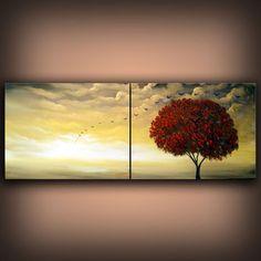 mid century tree painting gold metallic cloud sky lollipop sunset 48 x 18 ORIGINAL illustration Mattsart