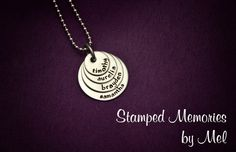 Mommy Necklace - Mini Four Layered Hand Stamped Pendant - Kids' Names - Personalized Mother Jewelry - Mother's Day Gift - Dainty Stack