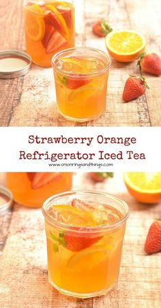 Strawberry Orange Refrigerator Iced Tea - Onion Rings & Things Mellow flavor, refreshing and naturally sweetened with fresh fruits, this Strawberry Orange Refrigerator Iced Tea is a delicious way to hydrate this summer. Fruit Drinks, Smoothie Drinks, Non Alcoholic Drinks, Healthy Drinks, Smoothie Recipes, Healthy Recipes, Cocktails, Healthy Food, Nutrition Drinks