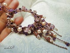 Amethyst Pendant Necklace, Amethyst Wrapped Necklace, February Birthstone,  Purple Hoop Pendant, Amethyst Long Necklace