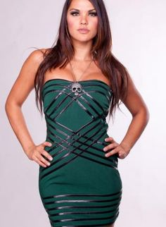 Green Strapless Bandage Dress with Faux Leather Stripes,  Dress, bandage dress  faux leather, Chic