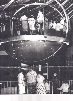 """""""The Bubbleator was a large, bubble-shaped hydraulic elevator with transparent acrylic glass walls operated from an elevated chair built for the 1962 World's Fair in Seattle. These transparent walls gave the illusion of looking through an actual 'soap bubble' by refracting light to obtain a rainbow-like effect for the riders inside."""" (Wiki)"""
