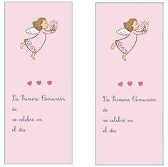 marcapágina angel rosa para imprimir Communion, Pink, Free Printable, First Holy Communion, Invitations, Community