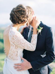 Wedding Hairstyles : Illustration Description braided wedding updo hairstyle and backless long sleeves wedding dress Open Back Wedding Dress, Long Sleeve Wedding, Open Back Dresses, Wedding Dress Sleeves, Lace Dress, Dress Wedding, Dress Long, Wedding Dress Necklines, Necklines For Dresses